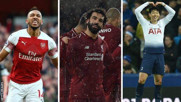 Pierre-Emerick Aubameyang (Arsenal), Mohamed Salah (Liverpool), Son Heung-min (Tottenham)