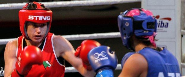 Katie Taylor in action against Azerbaijan's Yana Alekseevna in Turkey on Friday