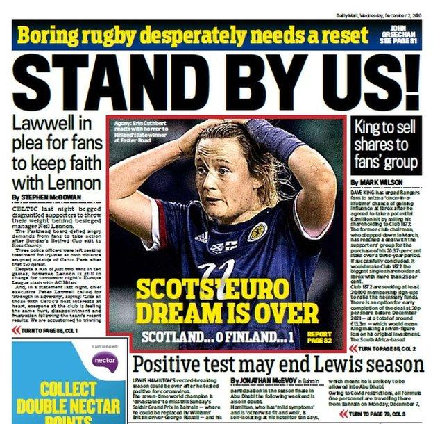 Back page of the Scottish Daily Mail