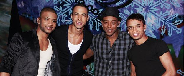 JB Gill (far left) with other JLS members (from left to right) Marvin, Oritse and Ashton
