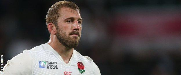 Then England captain Chris Robshaw looks dejected after his side crashed out of the 2015 World Cup