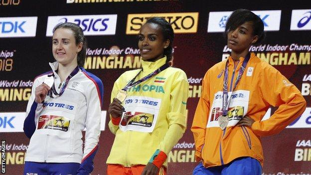 (Left to right) Laura Muir, Genzebe Dibaba and Sifan Hassan on the podium following the 3,000m final at the World Indoor Athletics Championships