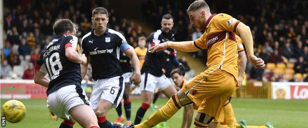 Louis Moult scores Motherwell's opening goal