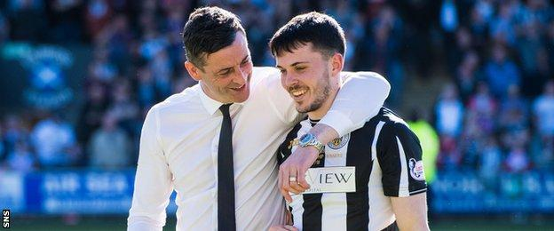 Jack Ross and Lewis Morgan embrace
