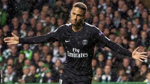 Brazilian star Neymar opened the scoring at Celtic Park