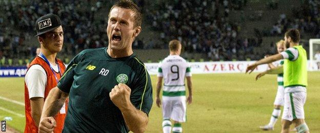 Ronny Deila was happy at full-time in Azerbaijan where Celtic took on Qarabag and drew 0-0 to progress to the Champions League play-off round 1-0 on aggregate