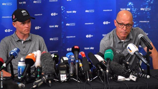 Team Sky rider Chris Froome and team boss Sir Dave Brailsford speak at a press conference