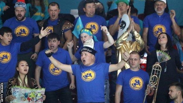Kazakhstan fans during the defeat to Great Britain