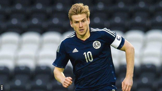 Stuart Armstrong captained Scotland Under-21s while at Dundee United