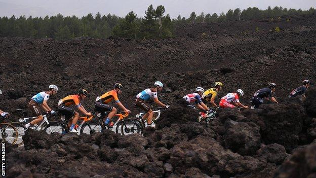 Giro d'Italia on Mt Etna