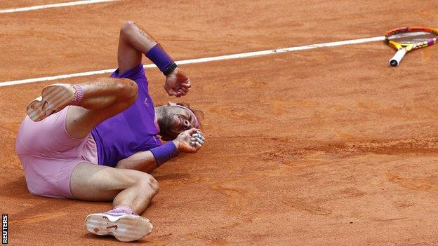 Rafael Nadal tumbles during his win over Alexander Zverev at the Italian Open in Rome