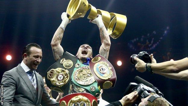 Oleksandr Usyk won all four world titles and the Muhammad Ali Trophy awarded to the Super Series winner