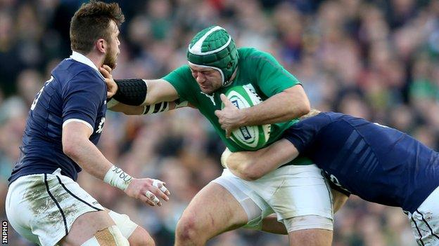 Rory Best is tackled by Scotland's Ryan Wilson and David Denton in last year's Six Nations game at Murrayfield