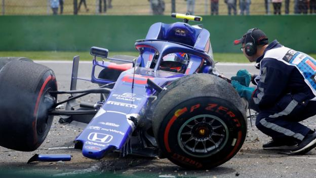 Toro Rosso's Alex Albon crashes during final practice for the Chinese Grand Prix