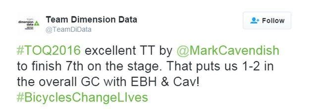 Team Dimension Data tweet
