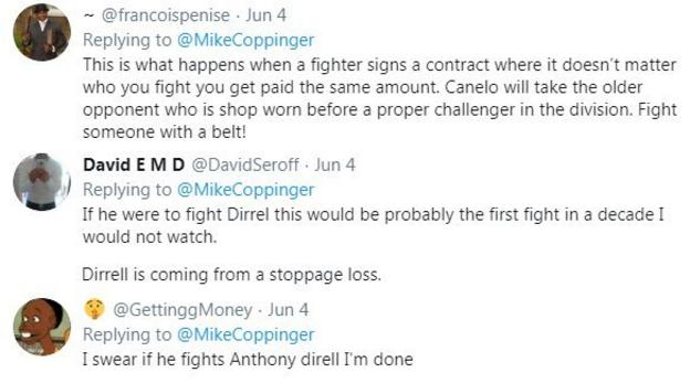 Boxing fans react to the news that Saul 'Canelo' Alvarez could fight American Anthony Dirrell next, with one fan saying