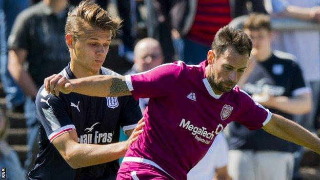 Gavin Swankie (right) in action for Arbroath