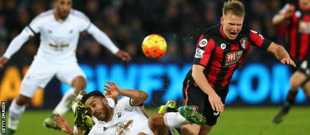 Matt Ritchie and Neil Taylor of Bournemouth and Swansea