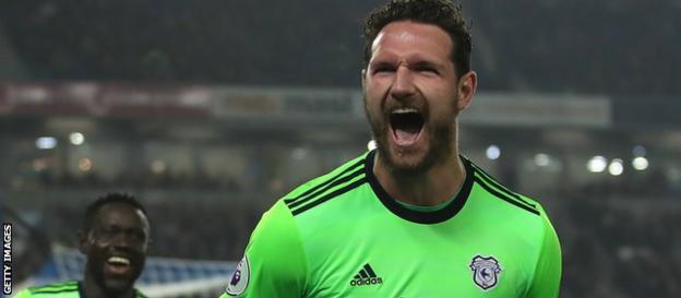 Sean Morrison on Cardiff celebrates his goal at Brighton