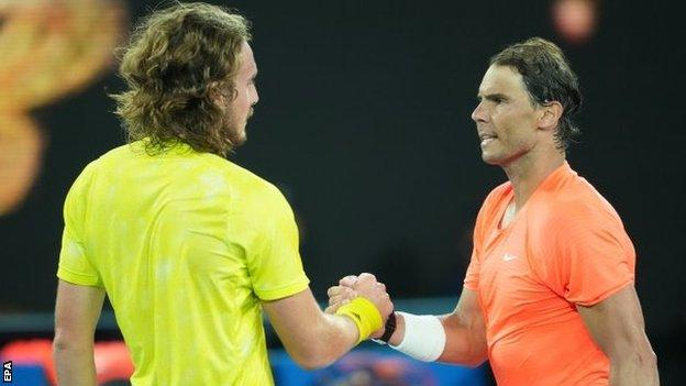 Stefanos Tsitsipas and Rafael Nadal shake hands at the net