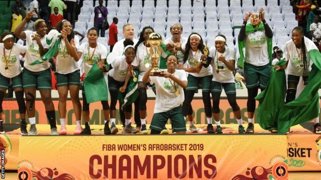 Nigeria celebrate winning the 2019 Women's AfroBasket title