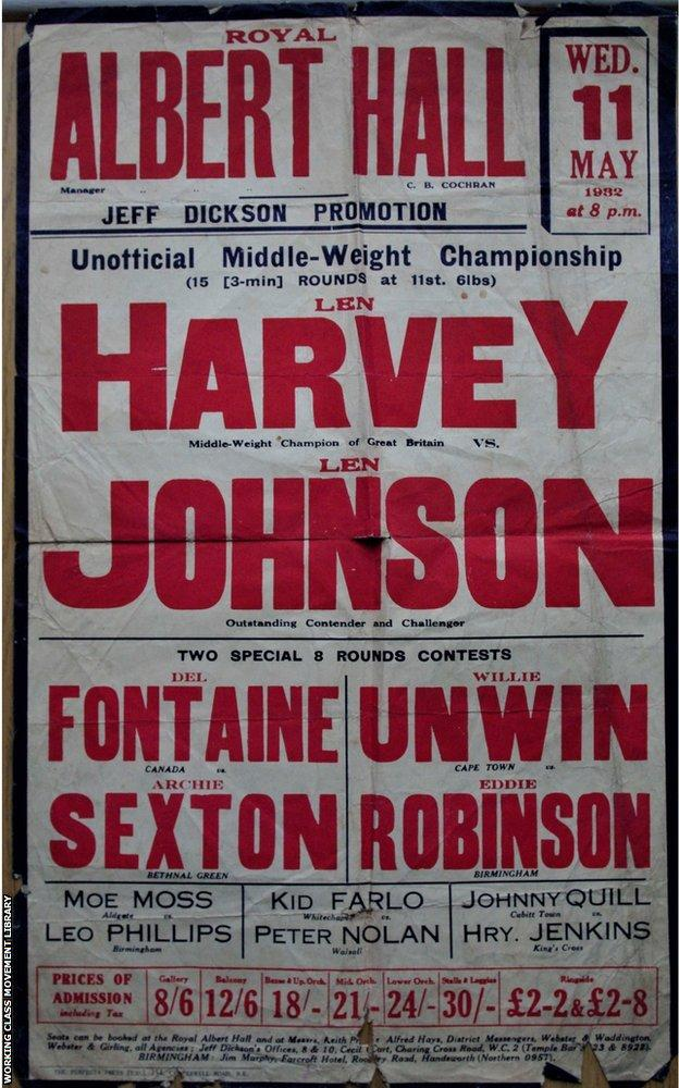 Poster advertising Len Johnson's fight with Len Harvey at the Albert Theatre in 1932