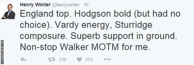 Times chief football writer Henry Winter tweet