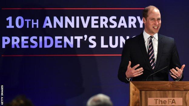 Prince William addresses guests at Wembley