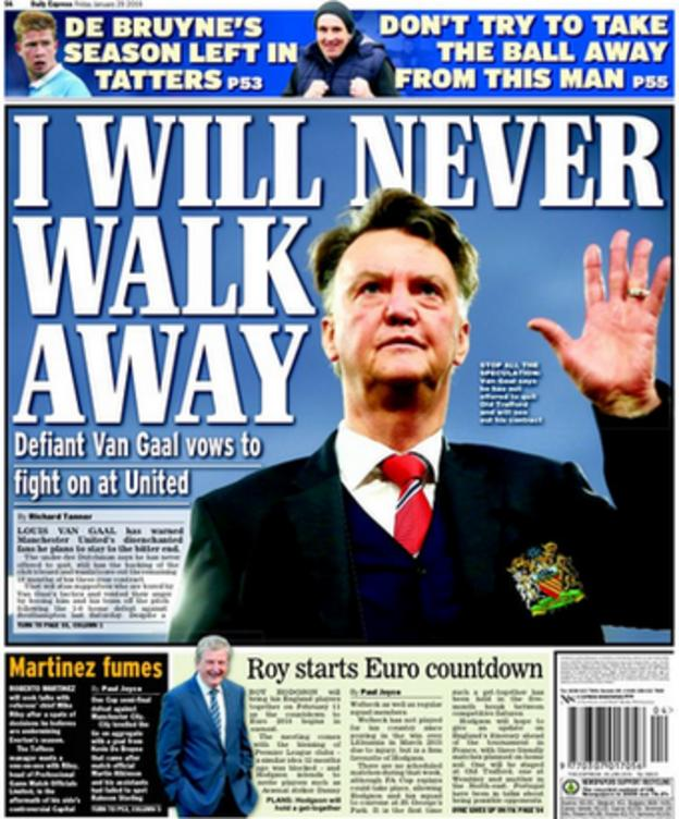 The back page of Friday's Daily Express