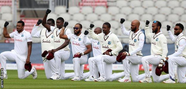 West Indies take a knee