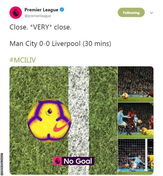 The Premier League tweets a computerised image of how close the ball was to crossing the line