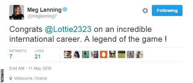 Australia captain Meg Lanning tweeted her congratulations to Edwards