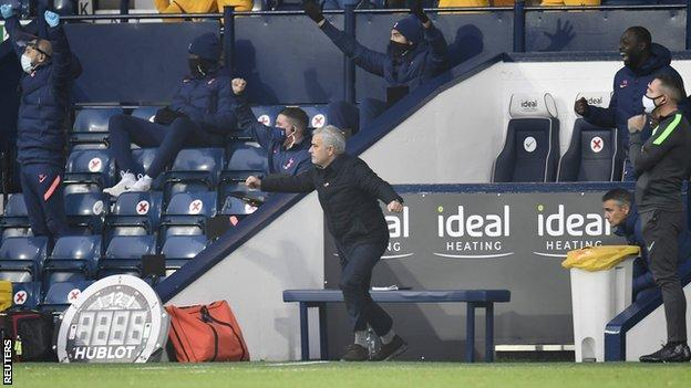 Jose Mourinho celebrates Tottenham's late winner at West Brom