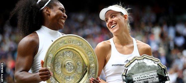 Angelique Kerber and Serena Williams at Wimbledon in 2016