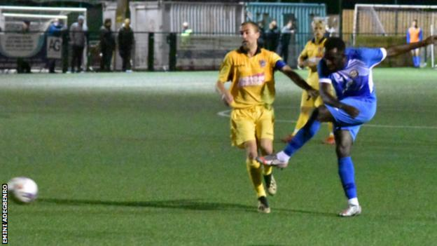 Emini Adegbenro in action for Skelmersdale United
