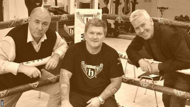 Costello (right) was challenged by Bunce (left) to find fans in Las Vegas who did not have their own Ricky Hatton story