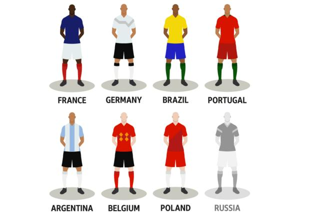 The remaining seven teams: France, Germany, Brazil, Portugal, Argentina, Belgium, Poland