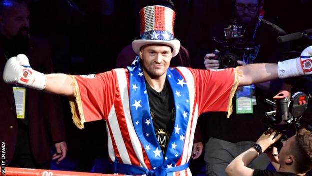 Tyson Fury in an American-themed costume
