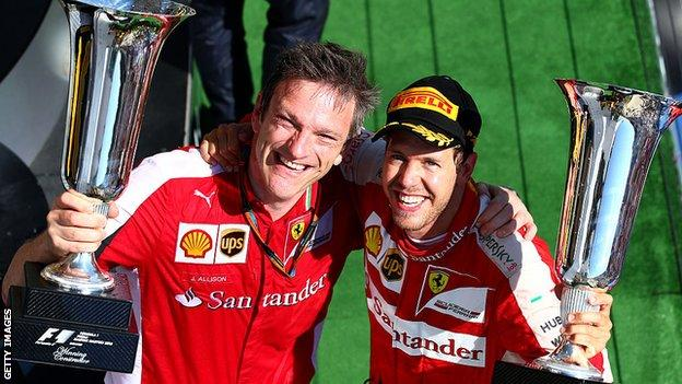 James Allison (left) and Sebastian Vettel