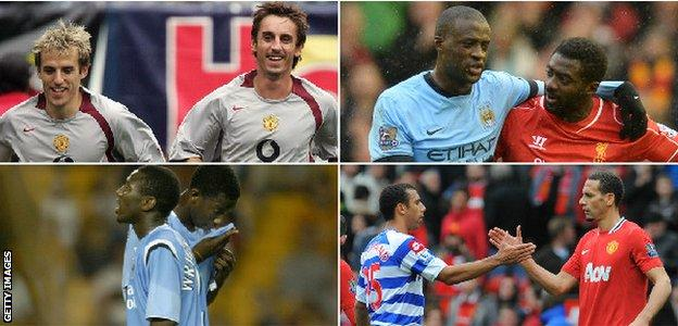 Phil and Gary Neville, Yaya and Kolo Toure, Bradley and Shaun Wright-Phillips and Rio and Anton Ferdinand