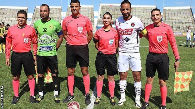 Dorsaf Ganouati lines-up with her fellow officials ahead of the Tunisian Ligue 1 match between CA Bizertin and AS Gabes