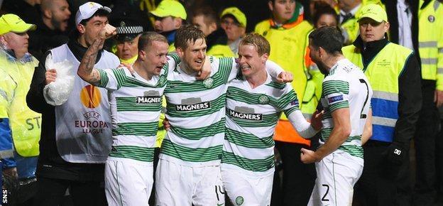 Celtic celebrate a goal against Inter Milan in the Europa League