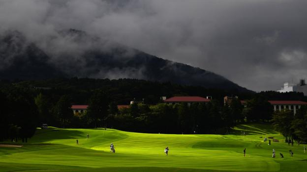 Hakone, Japan. 17 August: Mount Kamiyama seen in the background during the first round of the annual CAT Ladies tournament at Daihakone Country Club. (Photo by Atsushi Tomura/Getty Images)