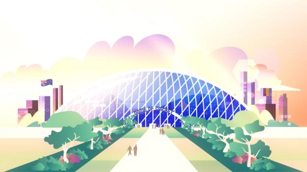 A domed stadium. Cricket venues may have to look radically different by 2050