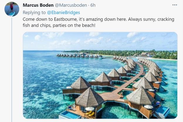 Marcus Boden tweet of a sunny beach in what looks like the Carribean