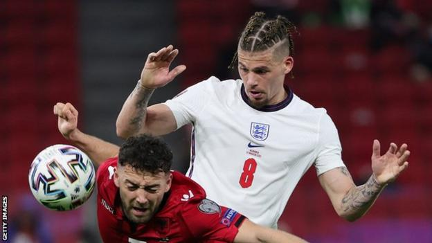 England's Kalvin Phillips in action against Albania in a World Cup 2022 qualifier