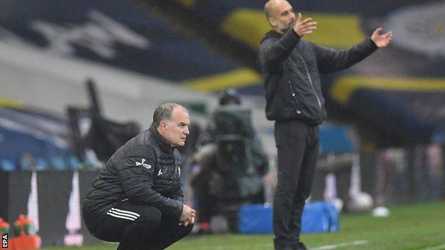 Marcelo Bielsa and Pep Guardiola on the touchline