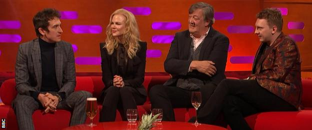 Geraint Thomas with Nicole Kidman, Stephen Fry and Joe Lycett on the Graham Norton Show