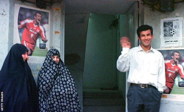Hamid Estili (now Iran's Under-23 coach) poses outside his Tehran home after returning from the 1998 World Cup. He scored the opening goal in Iran's 2-1 win over USA