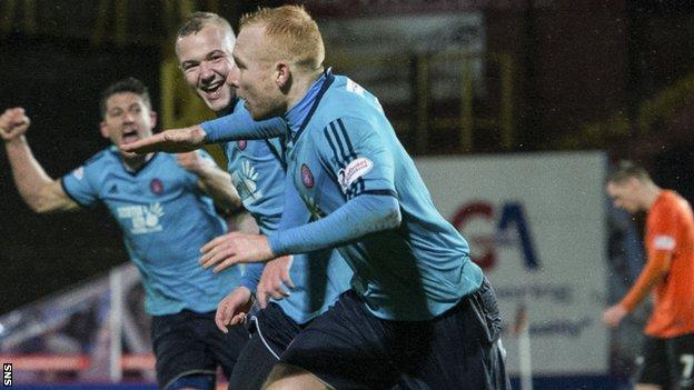 Hamilton's Ziggy Gordon celebrates his winning goal